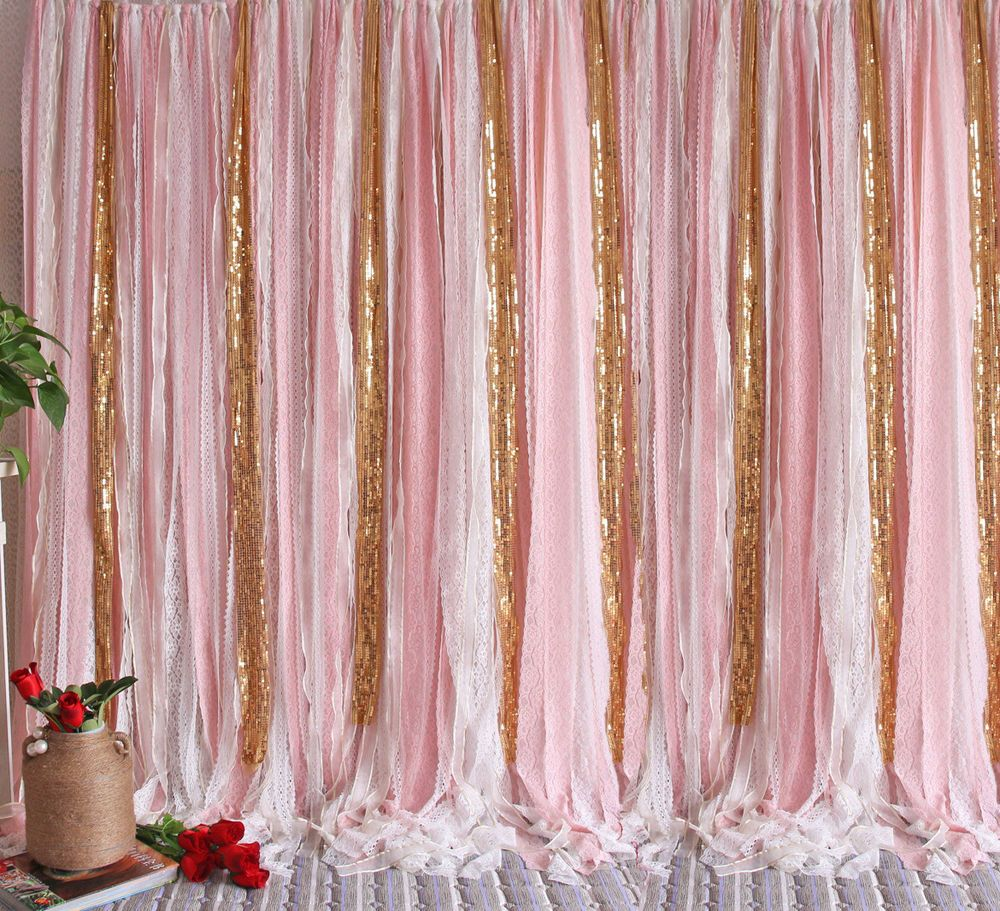 Pink White Lace Gold Sparkle Sequin Wedding Party Baby Shower Curtain Backdrop