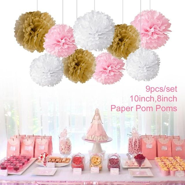 Fengrise pcs tissue paper pompoms happy birthday decoration pom poms balls flowers home decor for wedding party supplies in artificial  dried also rh pinterest