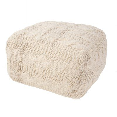 White Pouf Ottoman Bungalow Rose Romeo Solid Wool Pouf Ottoman Upholstery Color Ivory