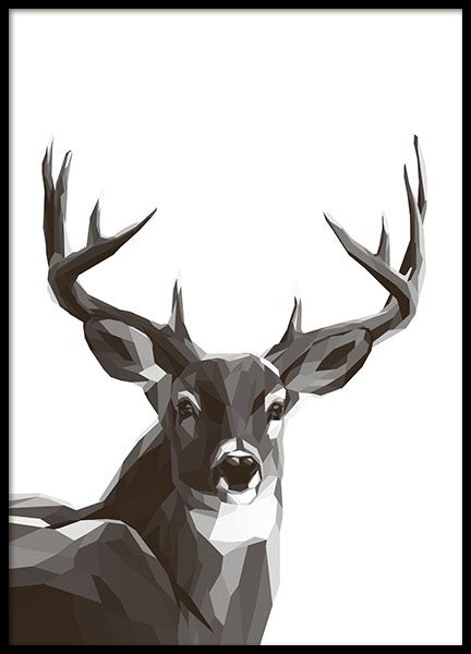 Black and white graphic print of reindeer