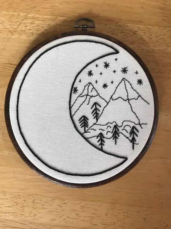 Moon and Mountains embroidery