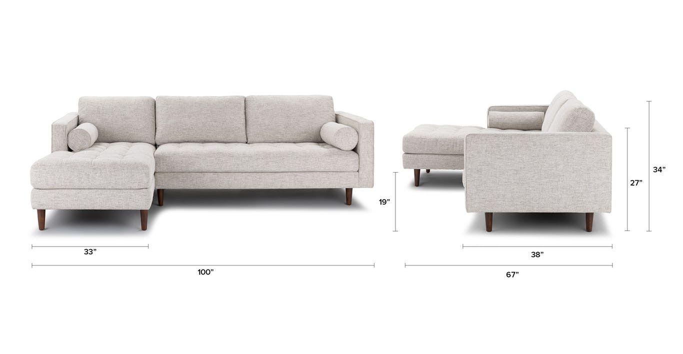 Sven birch ivory left sectional sofa