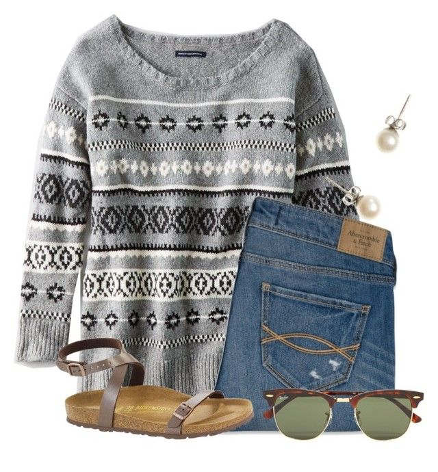 """""""Driving back from Orlando"""" by flroasburn ❤ liked on Polyvore featuring American Eagle Outfitters, Abercrombie & Fitch, Birkenstock, J.Crew and Ray-Ban"""