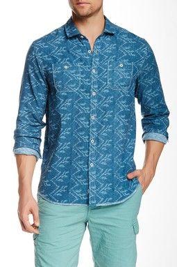 Broadway Blue Print Long Sleeve Modern Fit Shirt