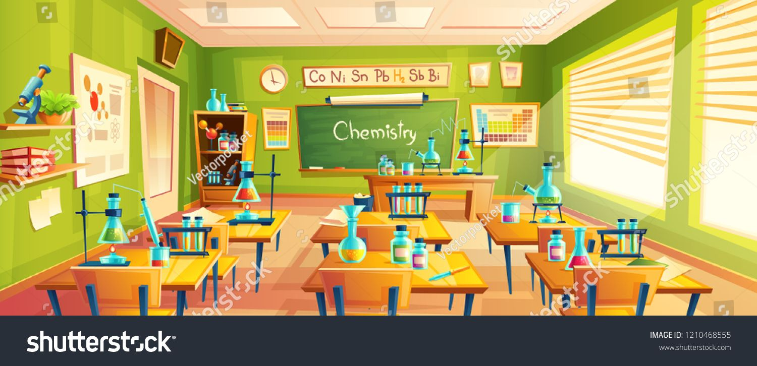 Cartoon Background With Chemistry Classroom Interior Inside Education Concept Illustration Traini Cartoon Background School Illustration Chemistry Classroom