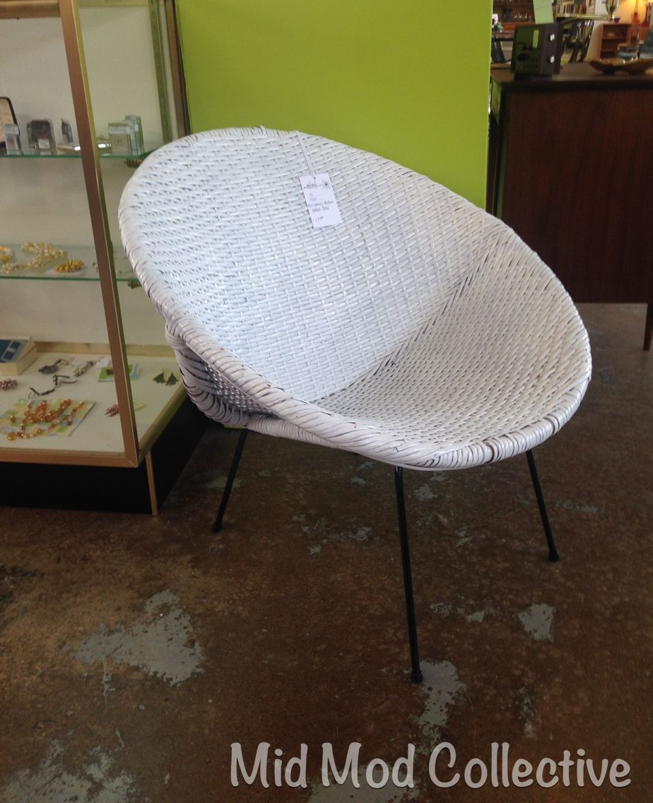 MCM Wicker Saucer Chair. Available Now At Mid Mod Collective. Email  Midmodcollective@gmail
