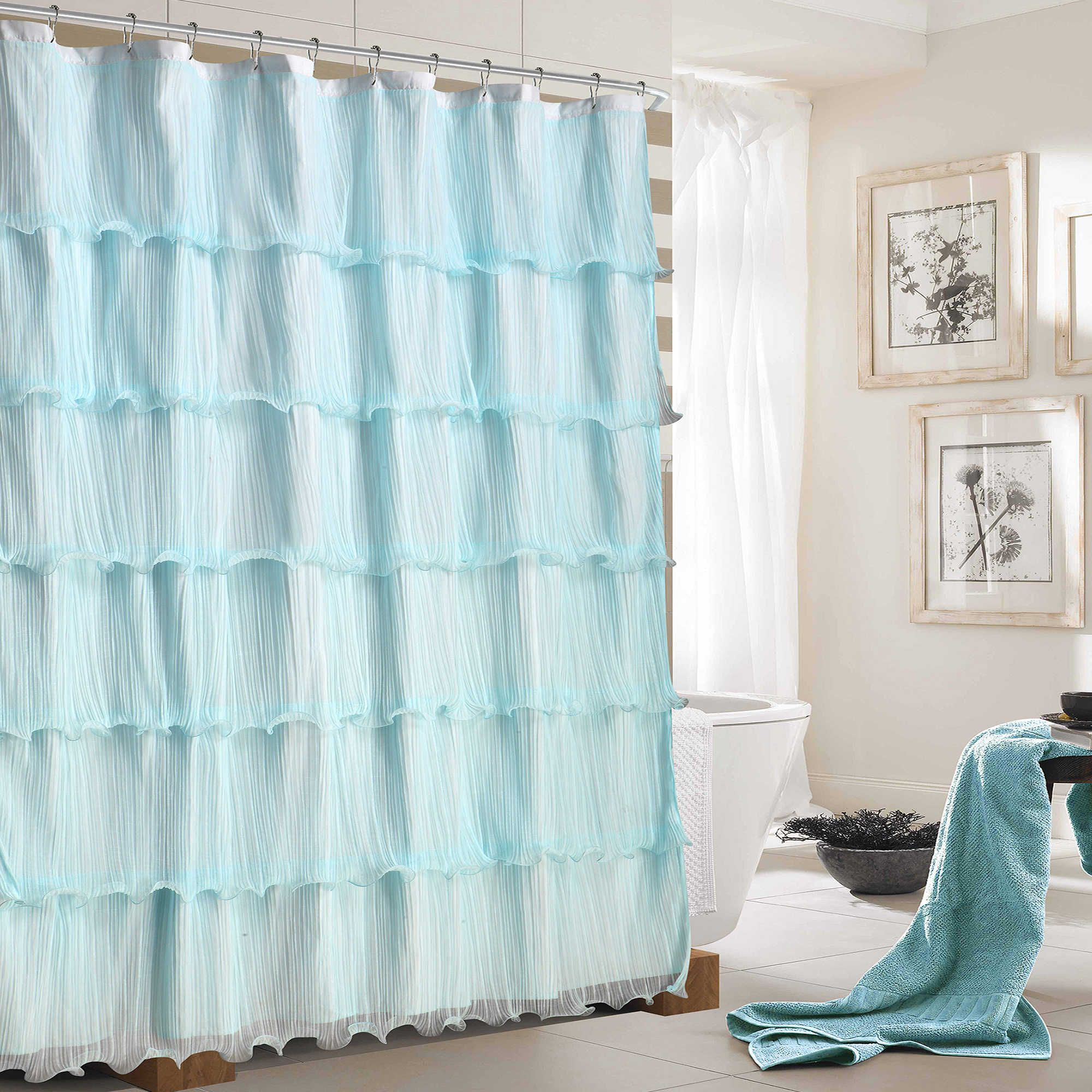 Dainty Home Lily Ruffled Shower Curtain In Light Blue Ruffle Shower Curtains Silver Shower Curtain Blue Shower Curtains