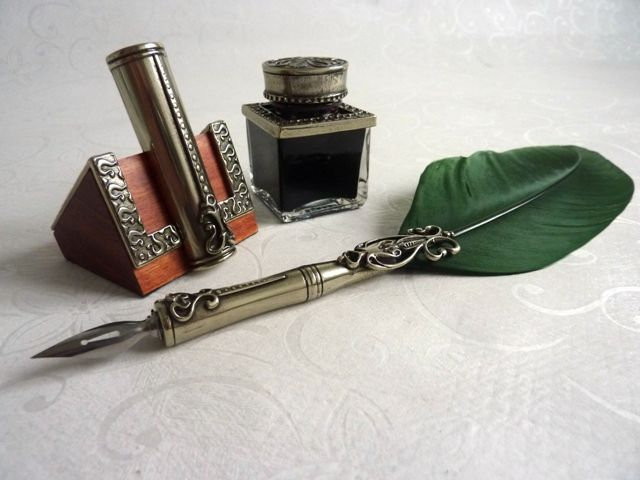 Feather Quill Dip Pen Inkwell Pen Holder Calligraphy
