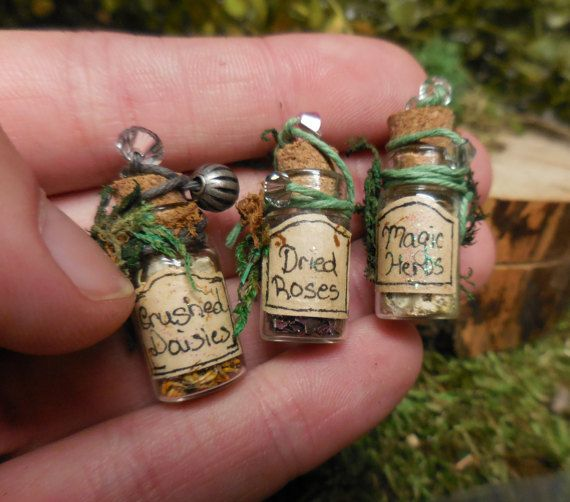 Miniature Herb Bottles For Fairy Gardens. Tiny Glass