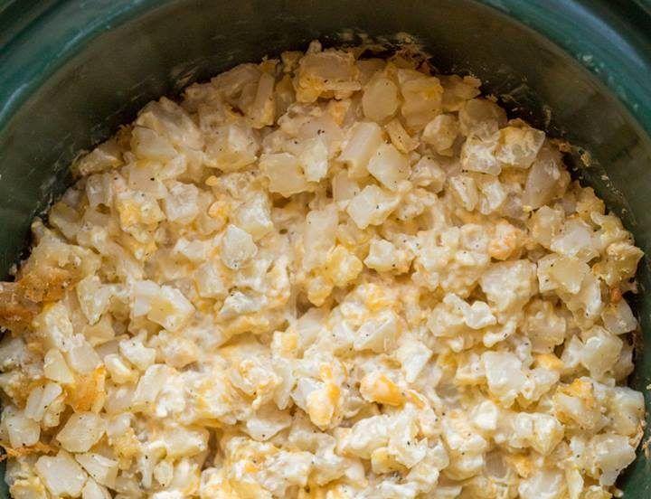 Ingredients1 (32 oz.) bag frozen diced potatoes1 (10.5 oz.) can condensed cream of chicken soup1 cup sharp cheddar cheese, grated1 cup cheddar jack cheese, grated1 cup sour cream1 teaspoon garlic powderkosher salt and freshly ground