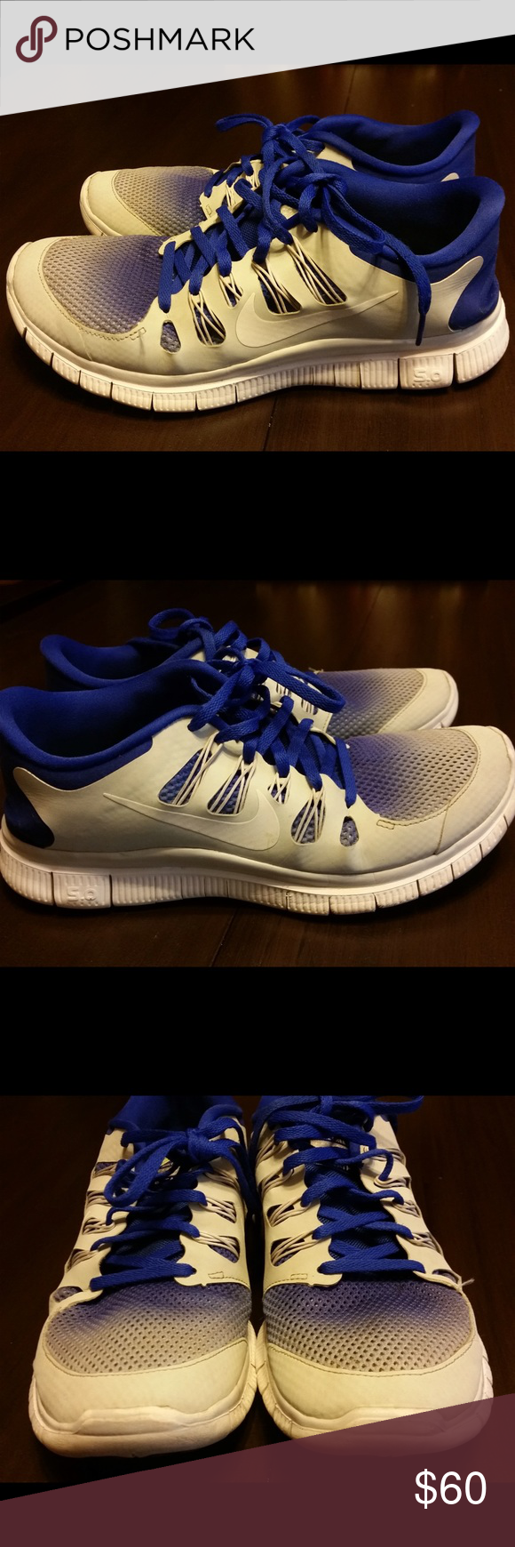Final price. White and blue ombré nike shoes Final Price!! Blue and white ombré Nike running shoes! Size 8.5 men's 9.5 women's. Not worn a lot only some wear, still in good condition. Love these shoes but just a little big for me! Nike Shoes Athletic Shoes
