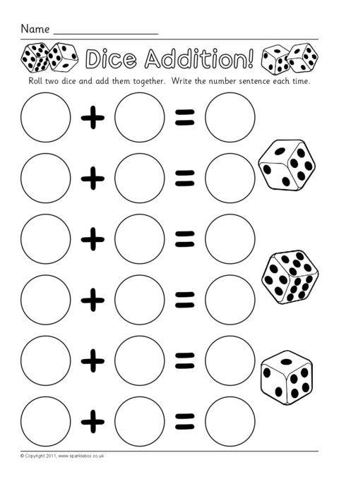 Dice Addition Worksheets (SB6050) - SparkleBox | math | Pinterest ...