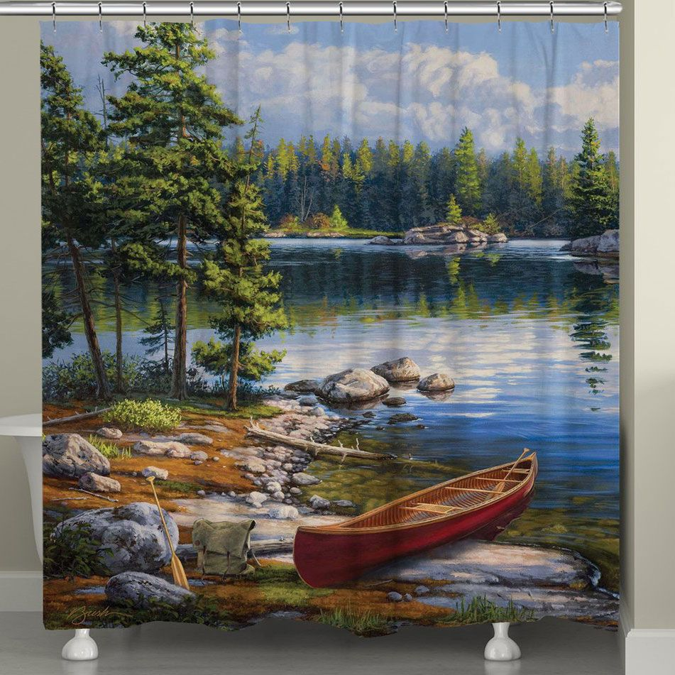 Lakeside Canoe Shower Curtain Rustic Shower Curtains Bay Shower