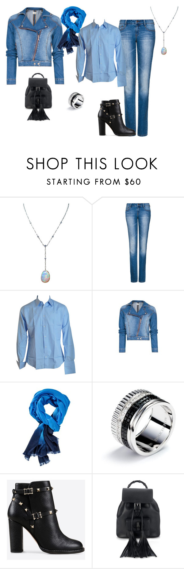 """""""FW - D - JEANS, SHIRT, JACKET, SCARF, BOOTS - DENIM & BLUES"""" by laliquemurano on Polyvore featuring MANGO, Valentino and Gucci"""