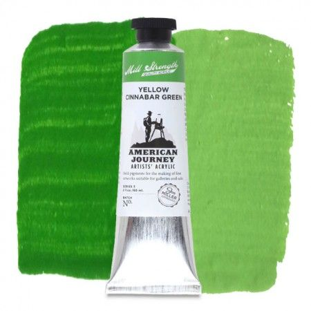 American Journey Artists' Acrylic, Yellow Cinnabar Green is a bright lime green that is ideal for highlighting areas in landscape paintings. Available in a 60 ml. tube. #ArtSupplies #AcrylicPainting #Acrylic