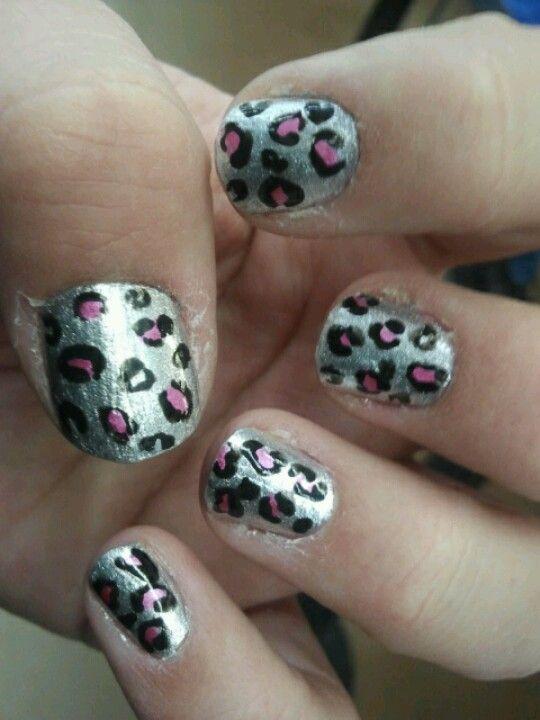 Silver And Pink Leopard By Sjs Nails Nailart Animalprint Nail