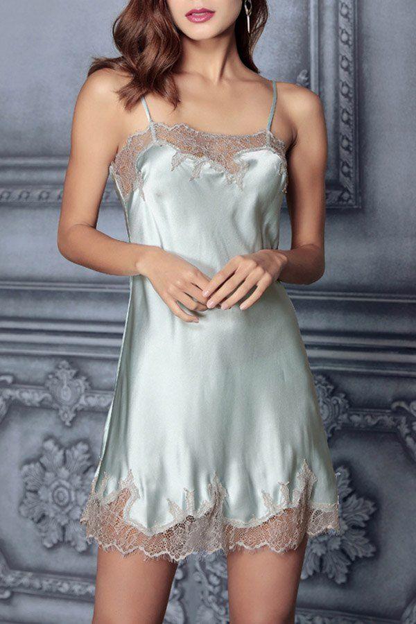 Dilansi Light Blue Lace Slip Silk Sleeping Dress Sleepwear At Dezzal Nuisette