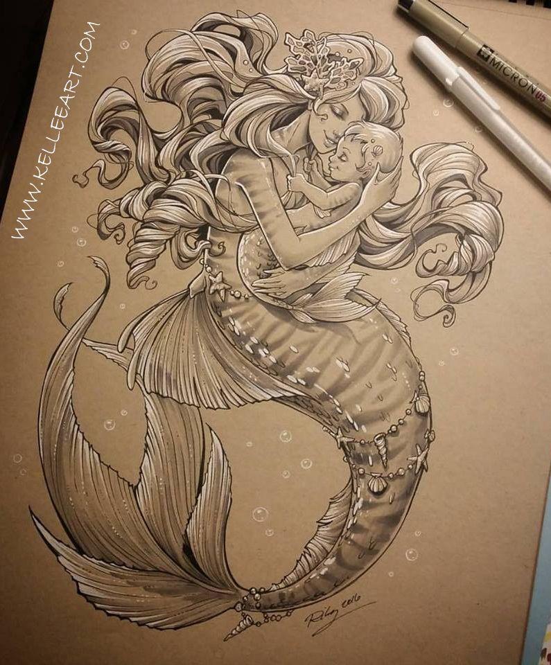 Art Drawings: Mother And Baby Mermaid By KelleeArt.deviantart.com On