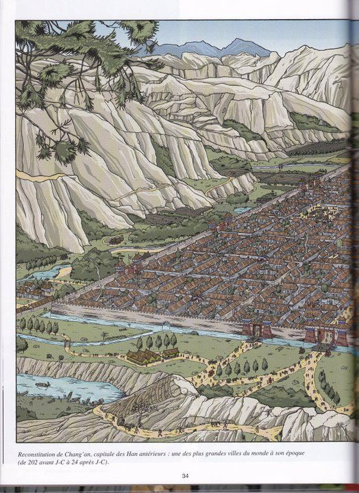 The city of Chang An, in the Han dynasty From Les Voyages d'Alix, Alix en Chine, by Jacques Martin, illus. Erwin Drèze