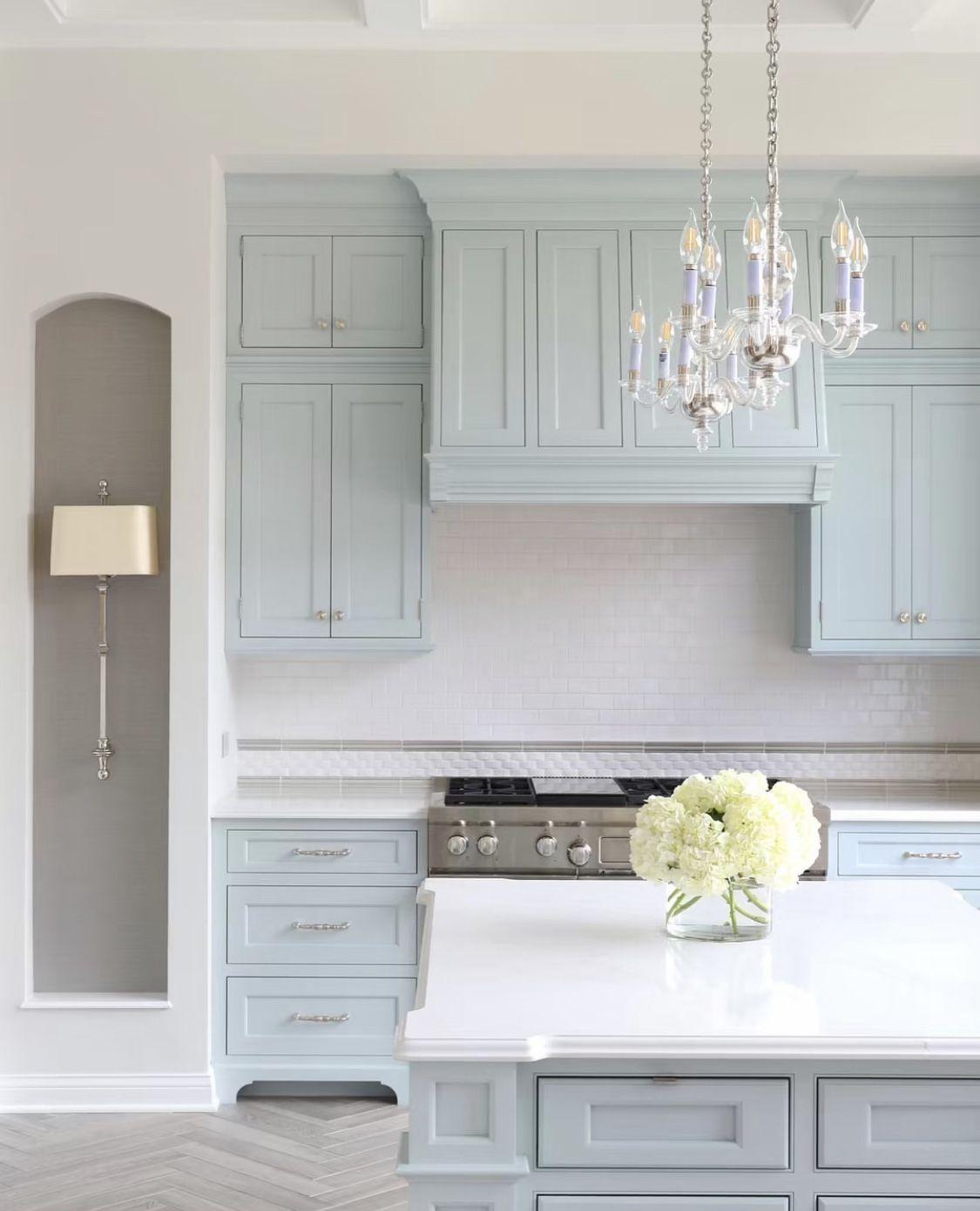 Crystal Kitchen Waterfall Blue Beautiful Kitchen Design Inset In 2020 Light Blue Kitchens Blue Gray Kitchen Cabinets Grey Blue Kitchen