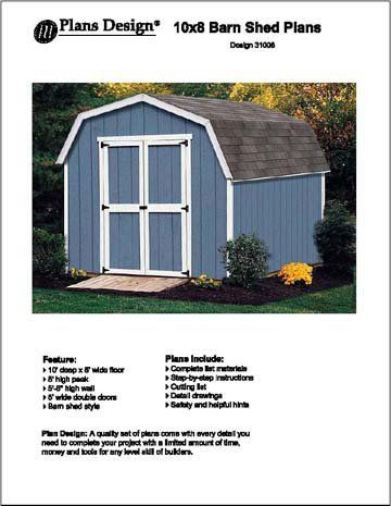 X Barn Gambrel Storage Shed Project Plans Design