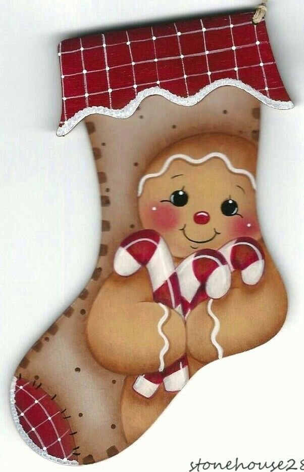 Painted Wood Gingerbread Man Stocking Painting Patterns And Ideas