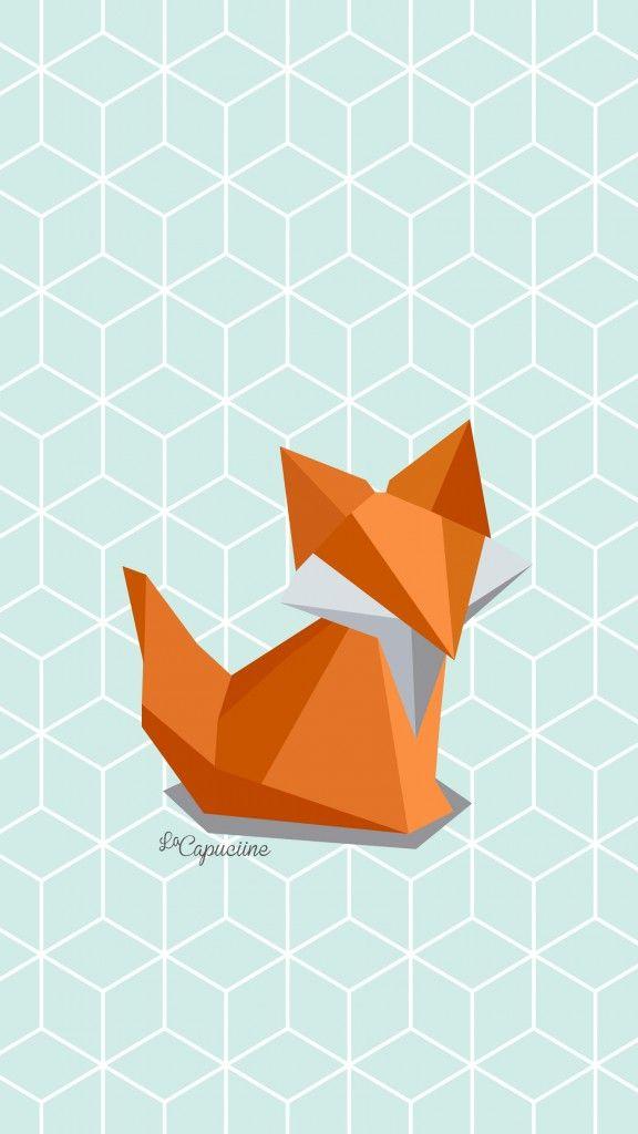 Fond d'écran - Renard origami #fondecranhiver