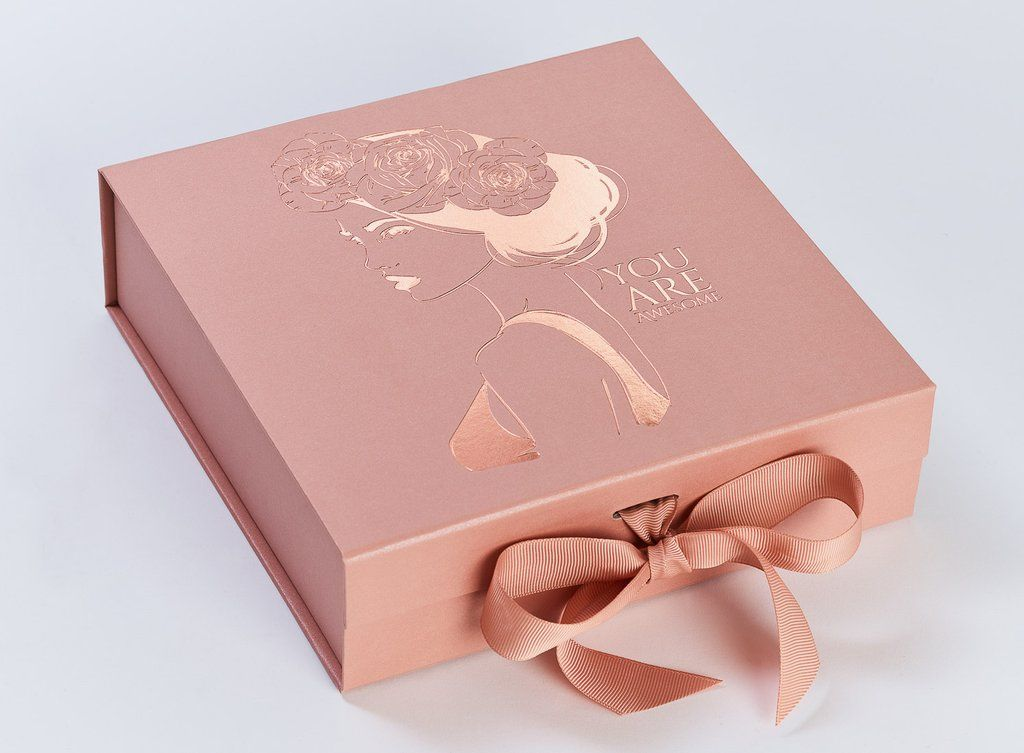 Rose Gold Medium Gift Boxes With Changeable Ribbon Lovely Paper