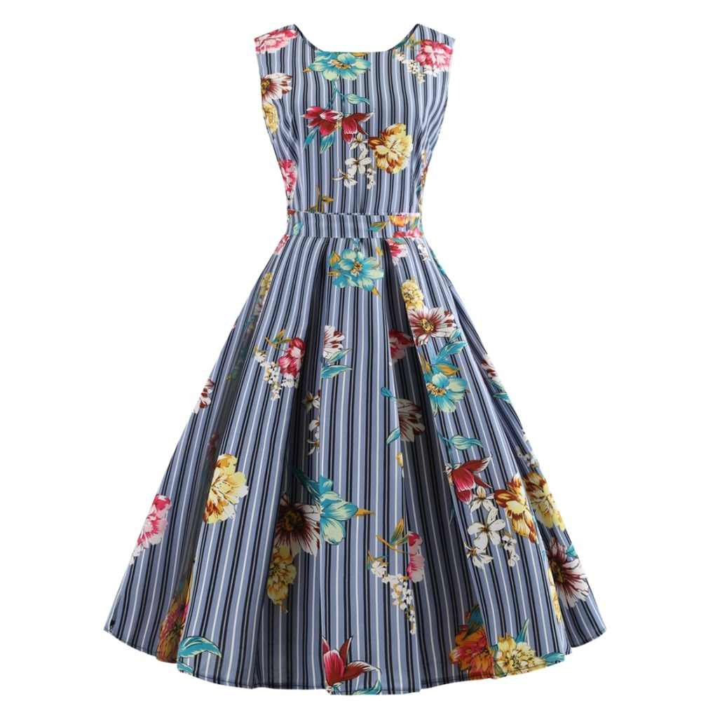 Women Elegant Spring Summer Sundress Plaid Stripes Polka Dots Floral Tropical Leaf Print Swing 1950s 50 Retro Vintage Dress Dresses Aliexpress Vintage Dresses Vintage Summer Dresses Vintage Rockabilly Dress [ 1000 x 1000 Pixel ]