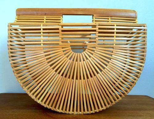 Vtg Japanese Bamboo Wood Slat Purse Half Moon Handbag Birdcage