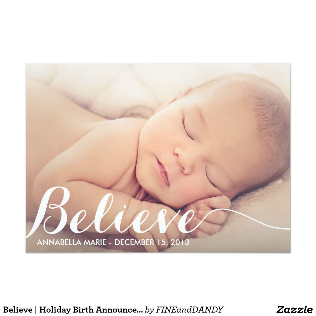 Believe holiday birth announcement