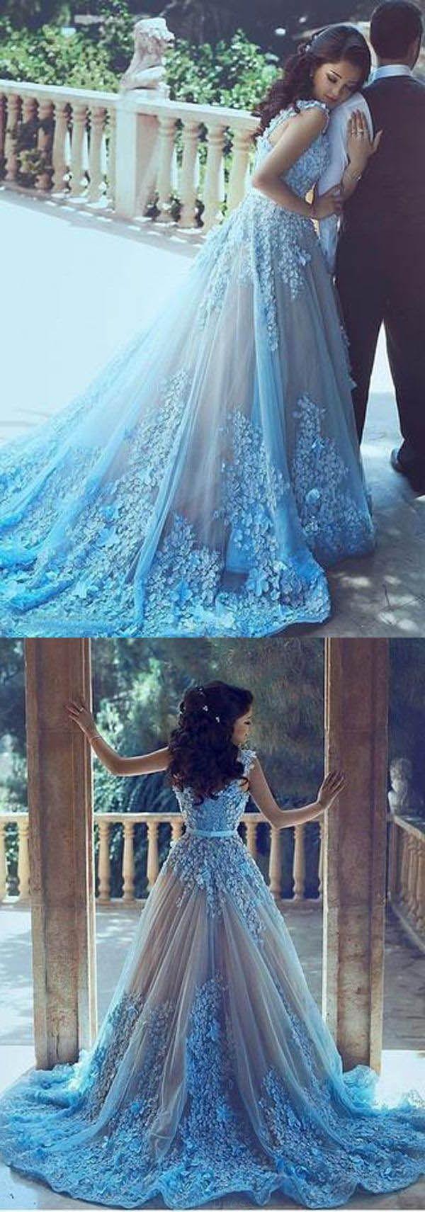 Custom made popular wedding dresses blue aline square chapel train