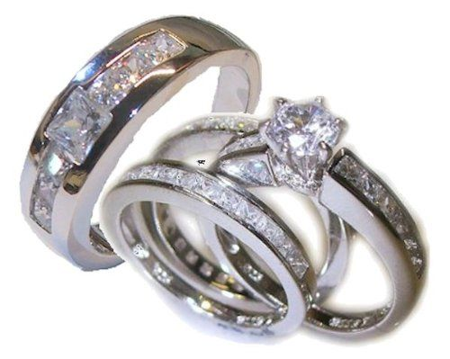 His Her 4 Piece Wedding Ring Set White Gold Ep Sterling Womens 511