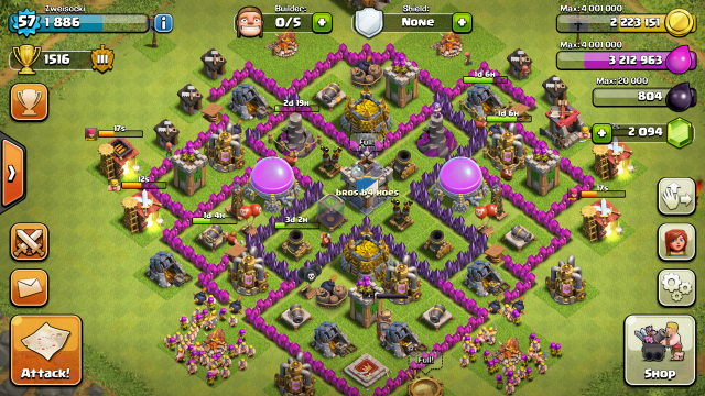 Weak Th7 War Base Without Barbarian King Google Search Coc