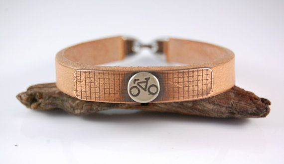 Men bracelet. Gift for men. Men gift. Cyclist gift. Cyclist bracelet. Leather copper nickel-silver  bracelet. Bracelet for men.