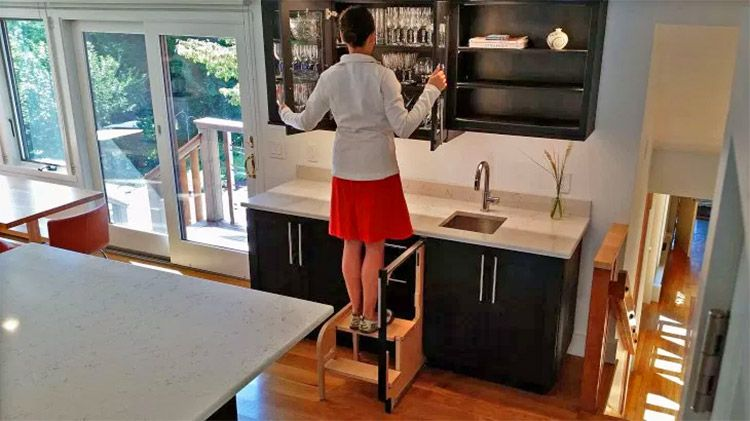 Hideaway Solutions Folding Step Stool Pulls Out From