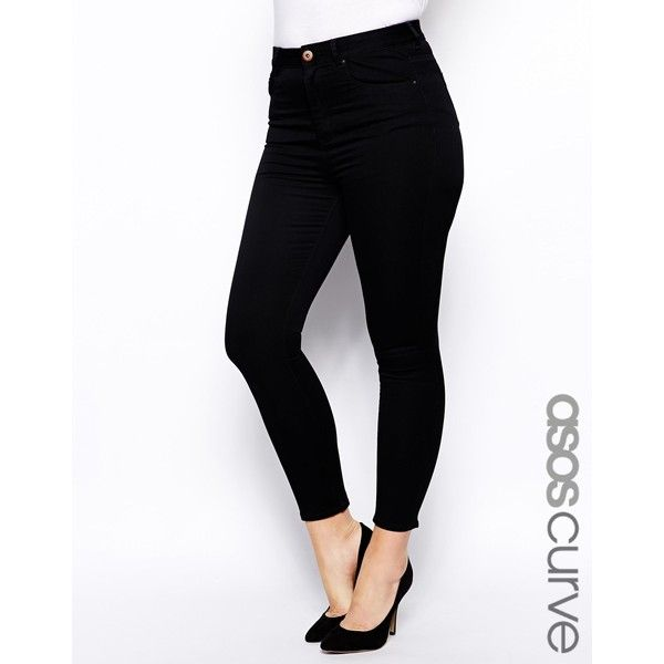ASOS CURVE Ridley Ankle Grazer Jeans in Clean Black ($38) ❤ liked on Polyvore