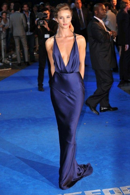 Fresh Rosie Huntington-Whiteley wearing Navy Silk Evening Dress   Navy  DP32