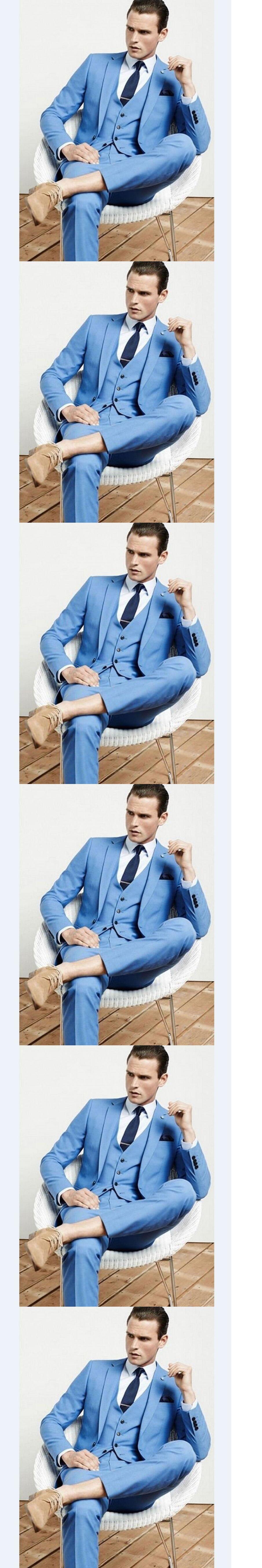 Custom Made Mens Light Blue Suits Formal Men Suit Set men wedding ...