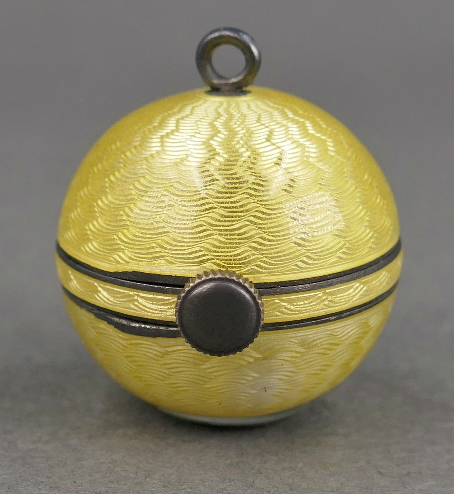 Vintage Deco Yellow GUILLOCHE Enamel Picture  LOCKET Necklace ~ Art Nouveau