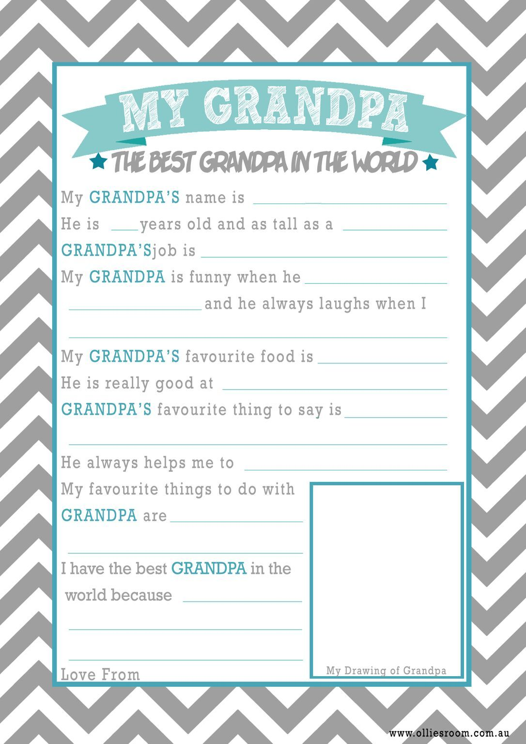 Father S Day Printable All About Grandpa Questionnaire