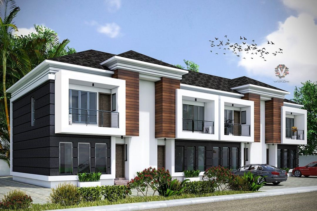 Two Series 4units Semi Detached 2bedroom Townhouse Drawing Plans Available Homesbyvivachi Two Series 4units Semi D Semi Detached Townhouse Duplex House Plans