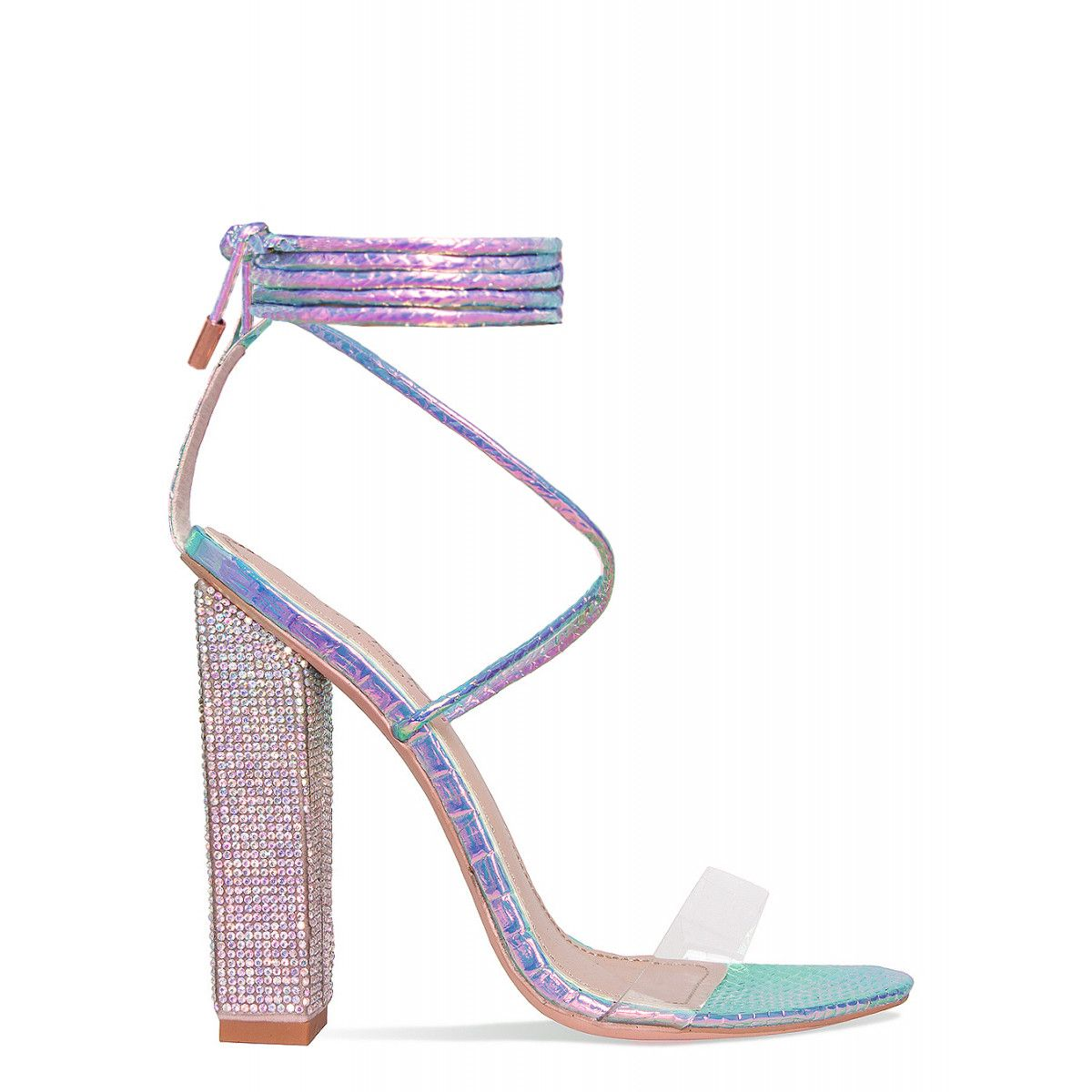 509c46e5d20a Karla Rainbow Snake Clear Lace Up Diamante Heels   Simmi Shoes