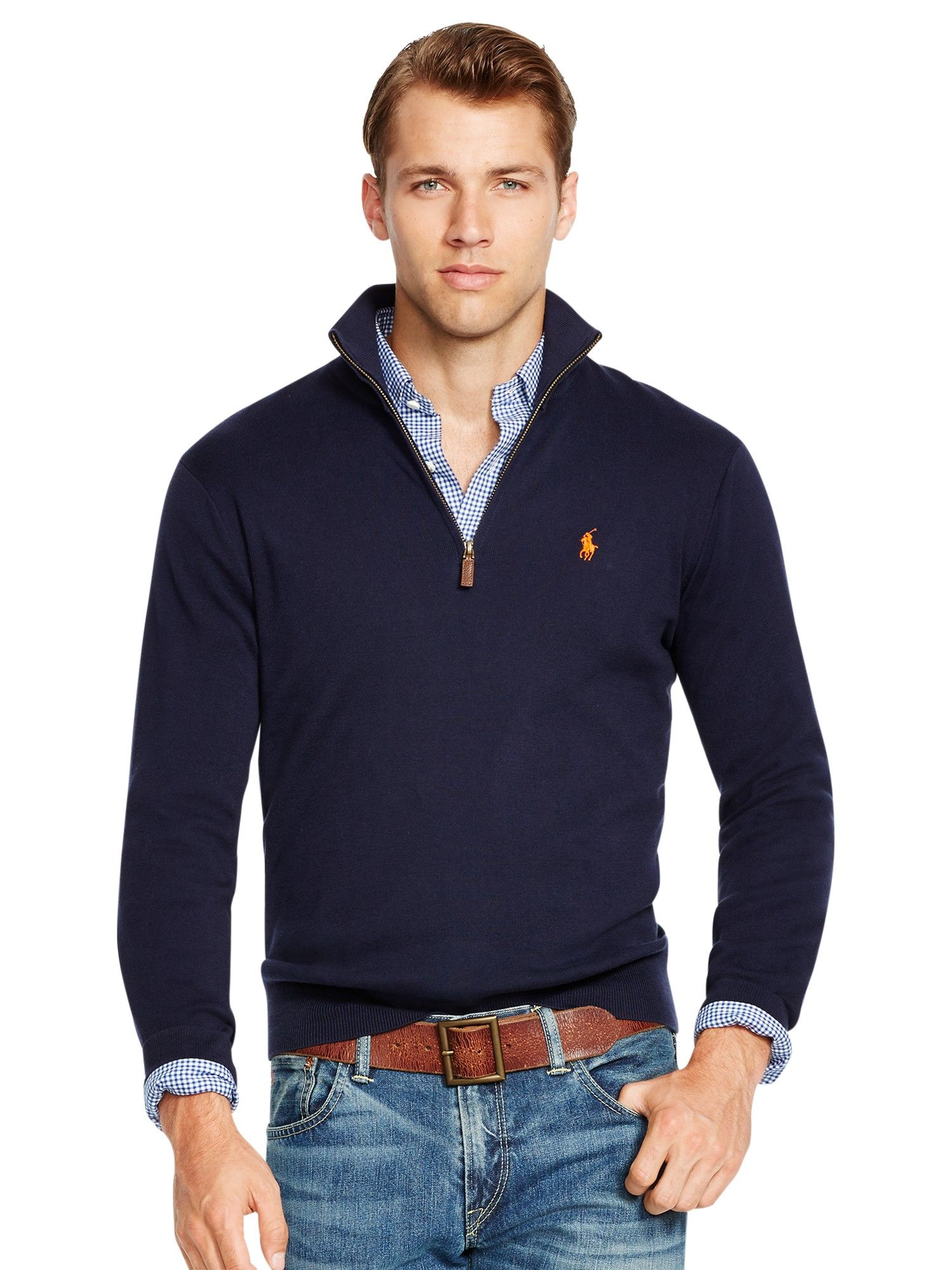 Ralph Lauren Polo Half Zip Pima Cotton Sweater In Hunter