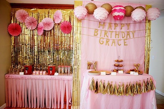 A pink gold first birthday party glamluxepartydecor for 1st birthday decoration packages