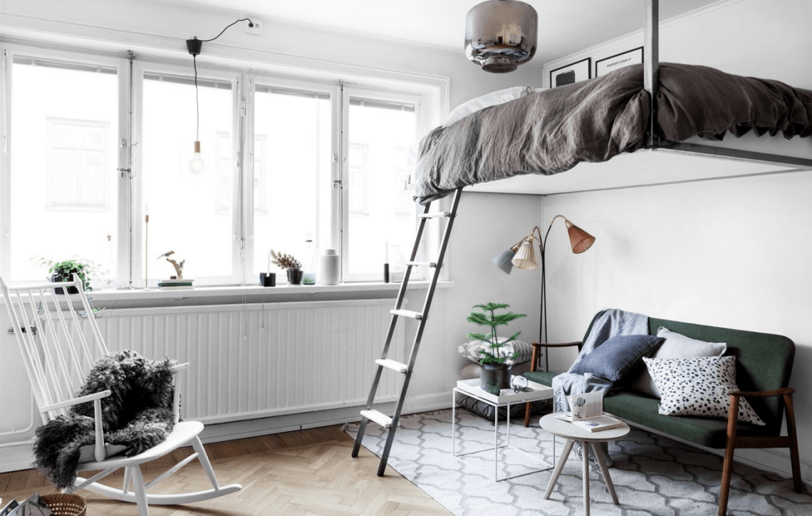 Interiors Space saving floating bunk bed