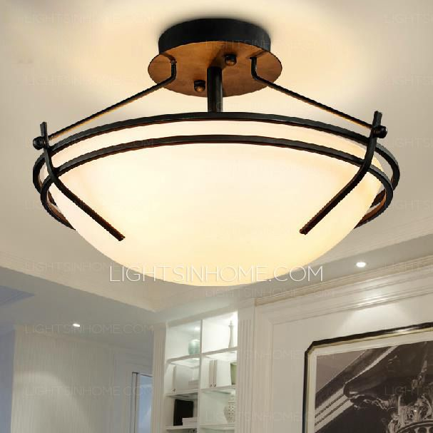 This retro ceiling lights have black wrought iron ceiling plate, not ...