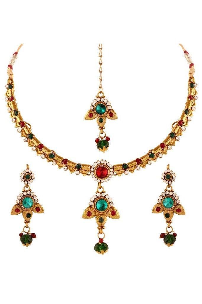 Multi Austrian Diamond Gold Plated Necklace Set