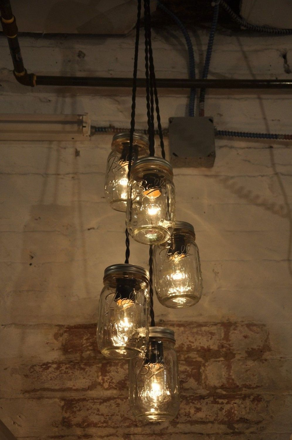 Mason jar chandelier 5 jar pendant light fixture hanging light mason jar chandelier 5 jar pendant light fixture hanging light jar cluster retro style lamp cloth covered wire vintage style cord aloadofball Choice Image