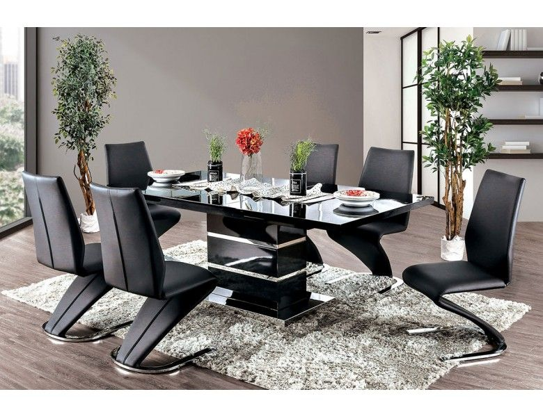 Glaze Modern Dining Table Black Lacquer Modern Dining Table